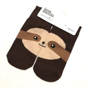 Forever 21 Socks Sloth Print Ankle NWT Brown